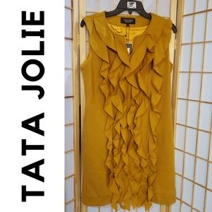 NWT TaTa Jolie Wool Blend Ruffle Front Dress Sz L